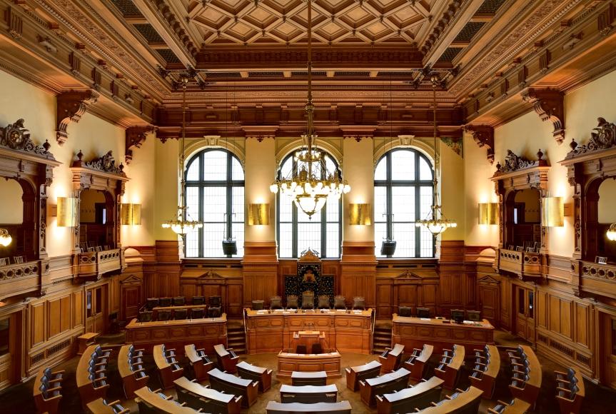 Plenarsaal der Hamburger Bürgerschaft.