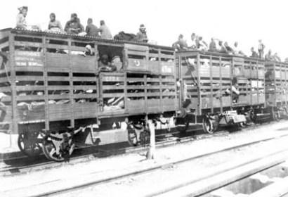 Deportation christlicher Minderheiten per Eisenbahn im osmanischen Reich.
