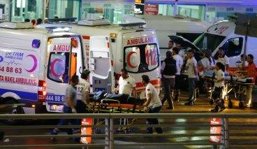 Paramedics push a stretcher at Turkey's largest airport, Istanbul Ataturk, Turkey, following a blast June 28, 2016. REUTERS/Osman Orsal
