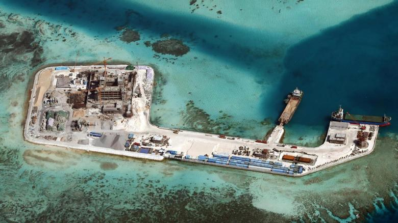 China-künstliche Insel im Bau