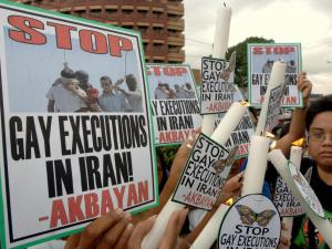 Protest gegen die Tötung von Homosexuellen im Iran.