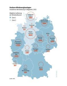 Die geplanten Windkraftzonen. (Quelle: Der Spiegel)