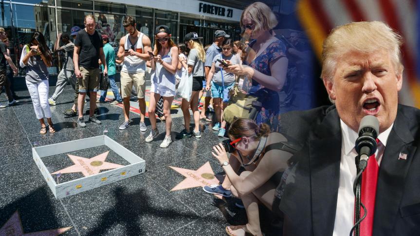 Künstler errichtet Trumps Mauer am HollywoodBoulevard.