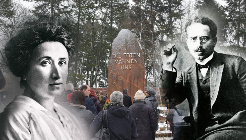 Bekenntnis zu linker Tradition, im Gedenken an Karl Liebknecht und RosaLuxemburg.